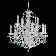 """Another option for over the kitchen island. Imperial Polished Chrome Clear Majestic Crystal Twelve-Light Chandelier. 29 1/2"""" W x 31"""" H. $1198. Like the white candles with chrome arms."""