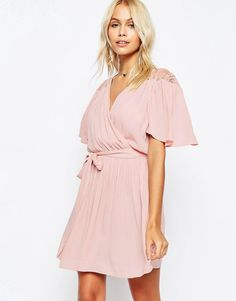 Image 1 ofASOS Wrap Front Dress with Lace Detail