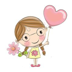 Cute Cartoon Pictures, Cute Cartoon Girl, Cartoon Pics, Cute Pictures, Easy Flower Drawings, Girly Drawings, Doodle Drawings, Teacher Appreciation Cards, Its A Girl Balloons