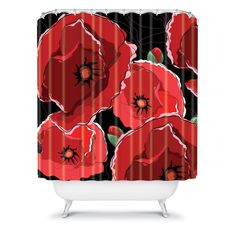 Belle13 Red Poppies On Black Shower Curtain