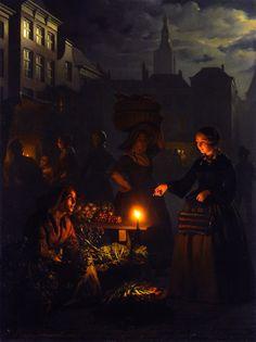 """Petrus van Schendel, """"A Moonlit Vegetable Market"""""""