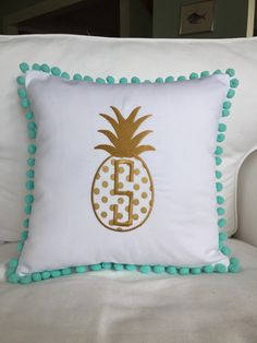 Monogrammed Pineapple Pom Pom Pillow by peppermintbee on Etsy