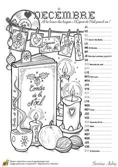 Coloriage calendrier, jolie illustration des activités à faire pendant le mois de décembre