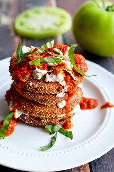 Fried Green Tomatoes with Goat Cheese and Roasted Red Pepper Vinaigrette - Host The Toast