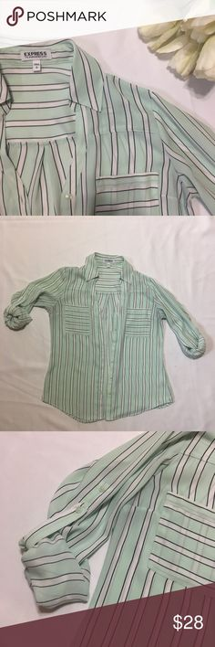 Express Striped Button Down in Mint Green Excellent condition, no snags or stains. Striped top in mint, white and black. Express Tops Button Down Shirts