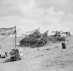 Royal Tank Regiment Sherman tanks, in fixed positions under camouflage nets, in use as artillery in the Anzio bridgehead, 5 May 1944. #worldwar2 #tanks