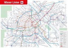 Vienna Lines public transport network #map #vienna #wien #austria