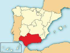 Ubicación de Andalucía dentro de España