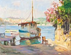 Ayhan Türker Inspiring Art, Painters, Cottages, Seaside, Inspiration, Watercolor Art, Canvas Paintings, Canvases, Watercolors