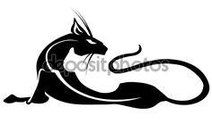 Пантера, черная кошка, татуировки — стоковая иллюстрация #103468838