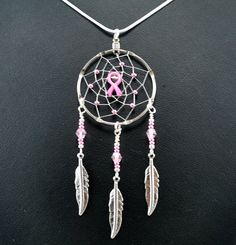 Breast Cancer Awareness Dream Catcher Necklace by OriginalsByCathy
