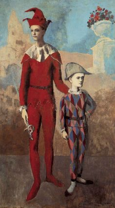 Pablo Picasso, 1905, Acrobate et jeune Arlequin (Acrobat and Young Harlequin), oil on canvas, The Barnes Foundation. #Rose_Period_Picasso ~Via Jack 41
