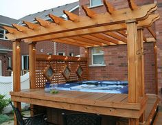 hot tub with deck, pergola: