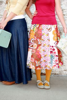 """custom crafted route 66 29"""" (mid-calf length) cotton skirts or 39"""" denim long skirt -  pattern or custom made - by Marie-Madeline Studio"""