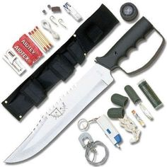 Fixed-Blade-Hunting-Camping-Tactical-Survival-Knife-w-sheath-Kit-Compass-NEW