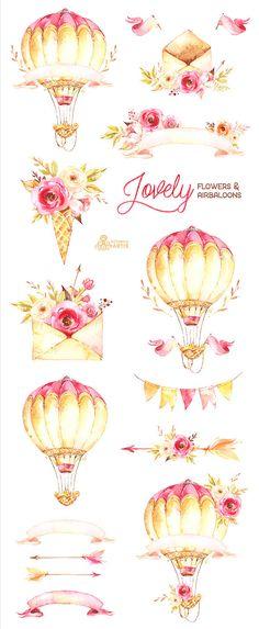 Dieser Satz von Hand gemalte Aquarell Blumen-Arrangements mit Airbaloons, Banner, Pfeile, Umschläge. Perfekte Grafik zur Hochzeitseinladungen, Grußkarten, Fotos, Plakate, Zitate und mehr. ----------------------------------------------------------------- SOFORT-DOWNLOAD Sobald die