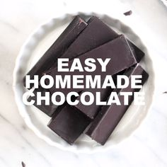 This 3 ingredient Homemade Vegan Chocolate recipe can be used 3 ways! Now you can always have chocolate any time the craving strikes. Homemade Chocolate Bars, Coconut Oil Chocolate, Vegan Chocolate Bars, Dark Chocolate Recipes, Chocolate Covered Fruit, Homemade Peanut Butter Cups, Healthy Chocolate, Paleo Chocolate Bar Recipe, Homemade Chocolates