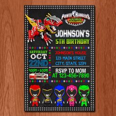 Power Ranger Invitation, Power Ranger Cute Birthday, Power Ranger Dino Super Charge Party,Power Rangers,Birthday Party by ZAZAinvitations on Etsy https://www.etsy.com/listing/463156290/power-ranger-invitation-power-ranger