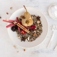 Recipe Share: Tri-colour quinoa with earl grey tea-poached pear, coyo & bee pollen