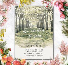 Printed Card - Digital Printable Files - Garden, Tree Tunnel and String Lights Wedding Invitation RSVP Thank You Invitation Set - ID636