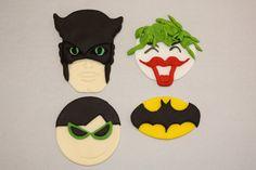 BATMAN, ROBIN, and JOKER  -  Fondant Cupcake, and Cookie Toppers - 1.5 Dozen