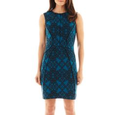 Worthington® Sleeveless Piped Print Sheath Dress   found at @JCPenney