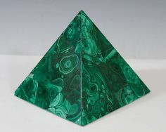 A Set of Decorative Malachite Pyramids with Green Swirl Detailing  | 1stdibs.com