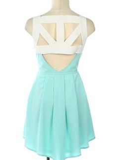 Teal/Turquoise Party Dress - Teal Cutout Open Back Sleeveless | UsTrendy