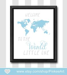 welcome to the world baby shower gift blue gray new baby decor custom baby boys room boy nursery art boy nursery ideas gift for new parents by PinkeeArt, $11.00