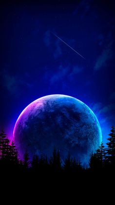 Moon in Night iPhone Wallpaper - iPhone Wallpapers
