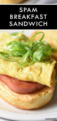 Crispy fried SPAM, an egg, curly scallions, and a mayo-Sriracha spread come together to cure all your morning woes in this awesome SPAM Breakfast Sandwich! Spam Recipes, Quiche Recipes, Waffle Recipes, Brunch Recipes, Chicken Recipes, Dinner Recipes, Fried Spam, Creamy Pasta Bake, Snacks