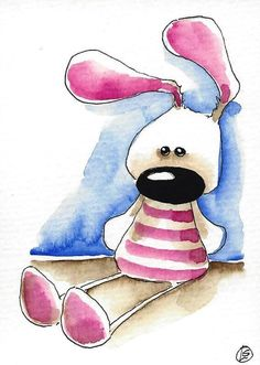 ACEO Original watercolor art whimsical animal painting Easter rabbit pink bunny #Folkartillustration