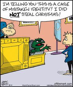mistaken identity: Oscar the Grouch not Grinch! Funny Cartoons, Funny Comics, Funny Jokes, 9gag Funny, Funny Texts, Cartoon Humor, Christmas Jokes, Christmas Fun, Christmas Scrooge