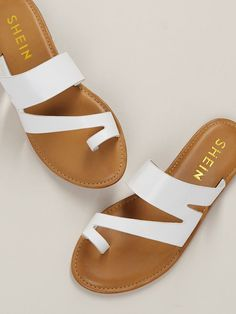 To find out about the Cut Out Toe Band Slide On Flat Sandals at SHEIN, part of our latest Slippers ready to shop online today! Shoes Flats Sandals, Girls Sandals, Cute Sandals, Flat Sandals, Girls Shoes, Leather Sandals, Fashion Slippers, Fashion Sandals, Toe Band
