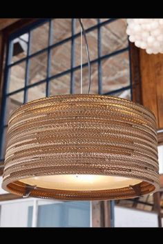 """GrayPants Drum Ceiling Lights - 18"""", 24"""", 36"""" Handmade from recycled cardboard boxes"""
