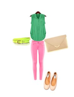 Pink, Green, Neon Yellow, Beige / Nude Outfit  Color block outfit!!!
