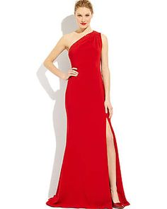 BADGLEY MISCHKA COLLECTION Scarlet Beaded One-Shoulder Gown #redcarpet style