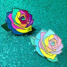 Image of Rainbow Rose Enamel Pin