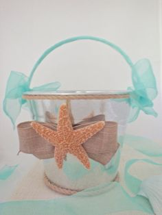 Beautiful Starfish Flower Girl Pail. Real Sugar Starfish, Rope Trim, Organza Ribbon, Brown Linen Bow. Extra Sweet for Your Seaside Wedding.