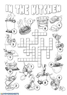 This is a picture crossword for teaching or revising food related vocabulary . Recommended for elementary students who are asked to complete the crossword using the across and down clues and English Games, Kids English, English Resources, English Activities, English Lessons, Learn English, Summer Worksheets, Vocabulary Worksheets, Worksheets For Kids