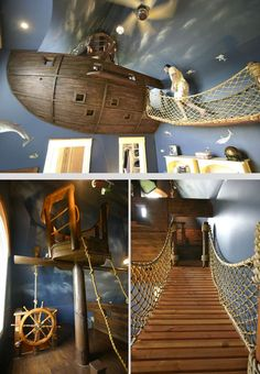 Sail off to dream land in this Pirate Ship bedroom. Home Bedroom, Kids Bedroom, Pirate Bedroom, 4 Year Old Boy Bedroom, Library Bedroom, Boy Bedrooms, Shared Bedrooms, Cool Kids Rooms, Room Kids