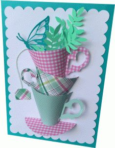 Silhouette Design Store - View Design #79076: stacked teacups card