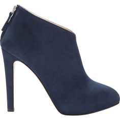 Barneys New York Back-Zip Ankle Boots (3 315 ZAR) ❤ liked on Polyvore featuring shoes, boots, ankle booties, bota, heels, blue, blue ankle boots, ankle boots, suede boots and short suede boots