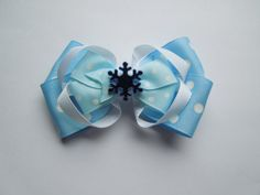 Blue Snowflake Boutique Hairbow by SewCuteBoutiqueBow on Etsy, $5.95