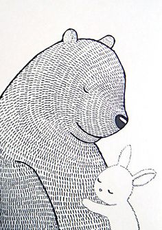 Bear & Bunny Print Original Ink Drawing Black White Ivory Love Illustration Woodland Rustic Home Wall Decor Cute Rabbit Nursery Art MiKa