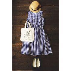 haupiaから夏らしいチェックのワンピースと、ちょっとクスッと笑ってしまいそうな動物柄のバッグが入荷しました #chronik#ootd#outfit