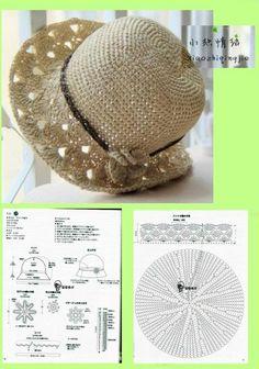 How to Make a Crochet Hat Crochet Beret Pattern, Crochet Hat With Brim, Crochet Summer Hats, Crochet Beanie, Crochet Motif, Knitted Hats, Knit Crochet, Crochet Hats, Crochet Patterns