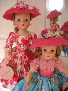 Cissy and Elise in beautifully brilliant day dresses and hats.