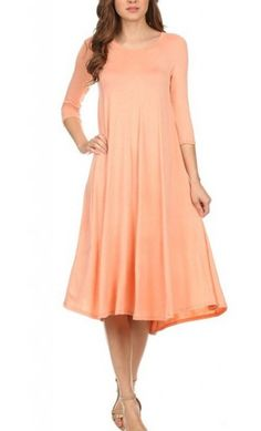 Metilda 3/4 sleeve solid midi dress in Peach Modest Dresses, Modest Outfits, Modest Fashion, Casual Dresses, Women's Casual, Formal Dresses, A Line Long Dress, Mid Length Dresses, Babydoll Dress
