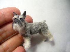 Dollhouse Miniature Schnauzer Dog *Handsculpted*